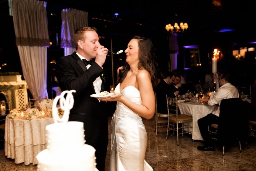 Cake cutting at Spring Shadowbrook wedding reception.