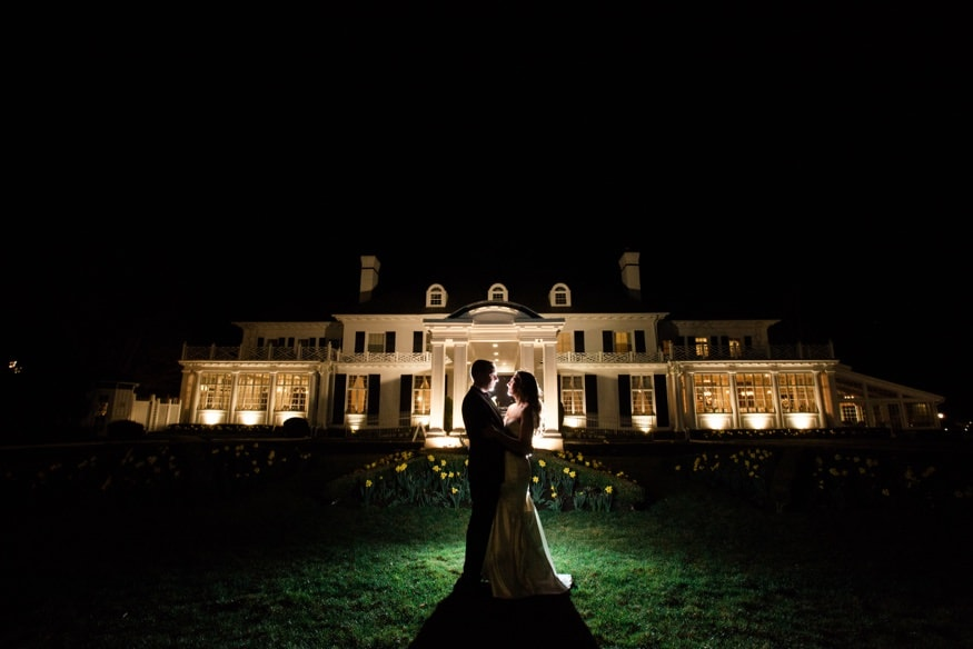 Night portraits of Bride and Groom at Spring Shadowbrook wedding reception.
