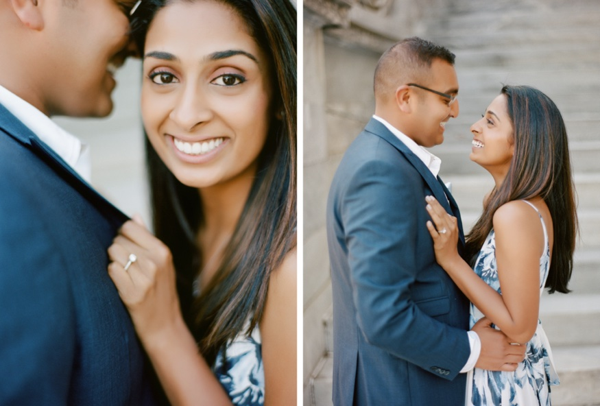 Old City engagement photos at the Merchant Exchange Building.