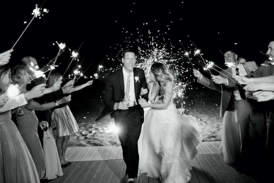 Firework and sparkler exit at Windows on the Water in Sea Bright wedding.
