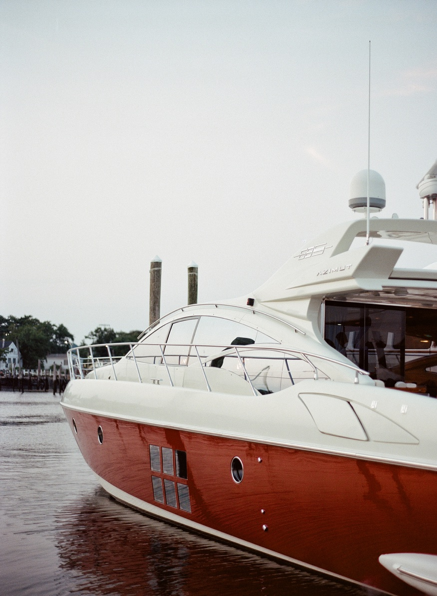 Long Island New York engagement session on Azimut Yacht.