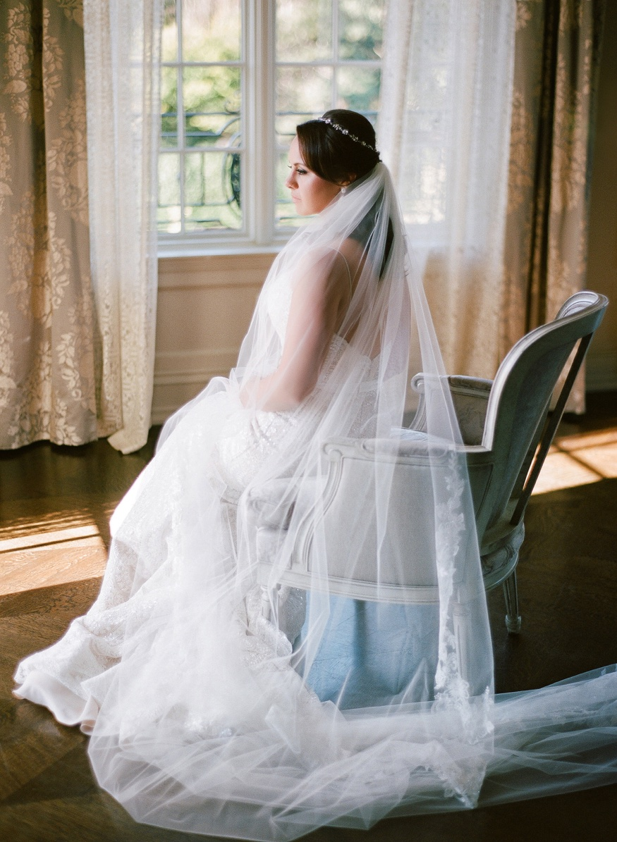Bride in Anne Barge wedding dress at Park Chateau wedding.