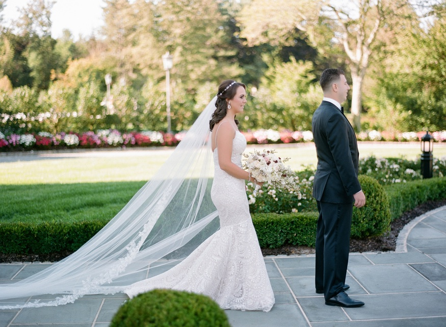Bride and Groom first look at Park Chateau wedding.