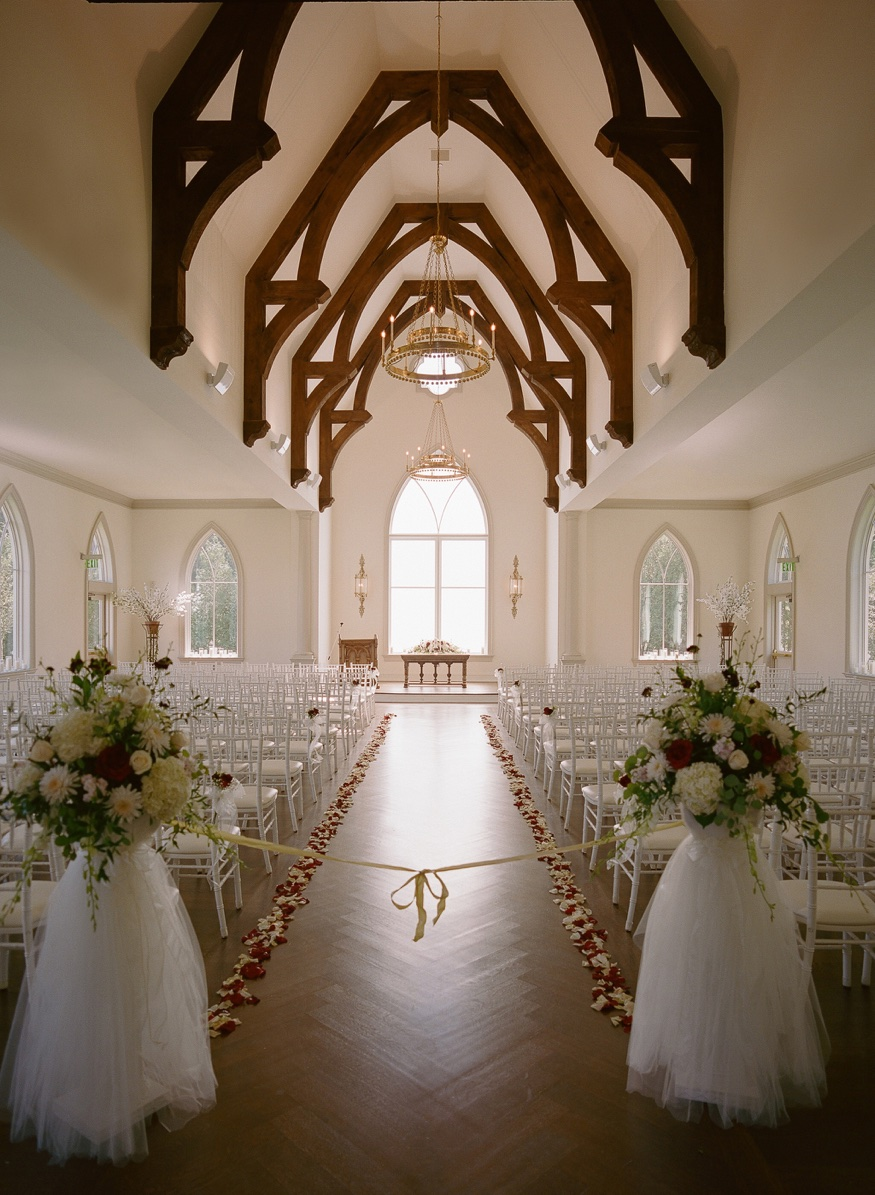 Ceremony details in the chapel at the Park Chateau wedding.