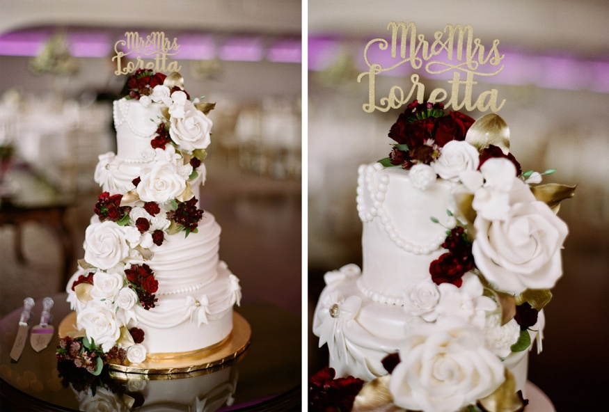Wedding cake by Fancy Cakes at Park Chateau wedding reception.