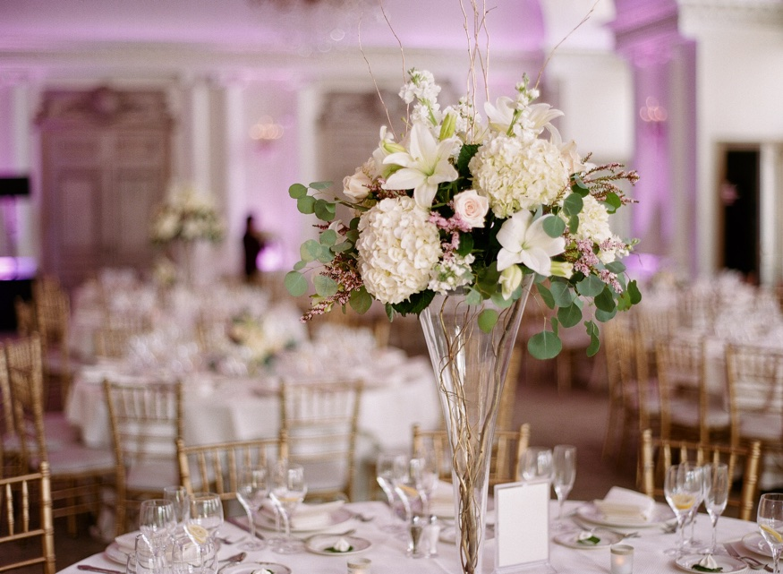 Centerpieces by Designs by Linda at Park Chateau wedding reception.