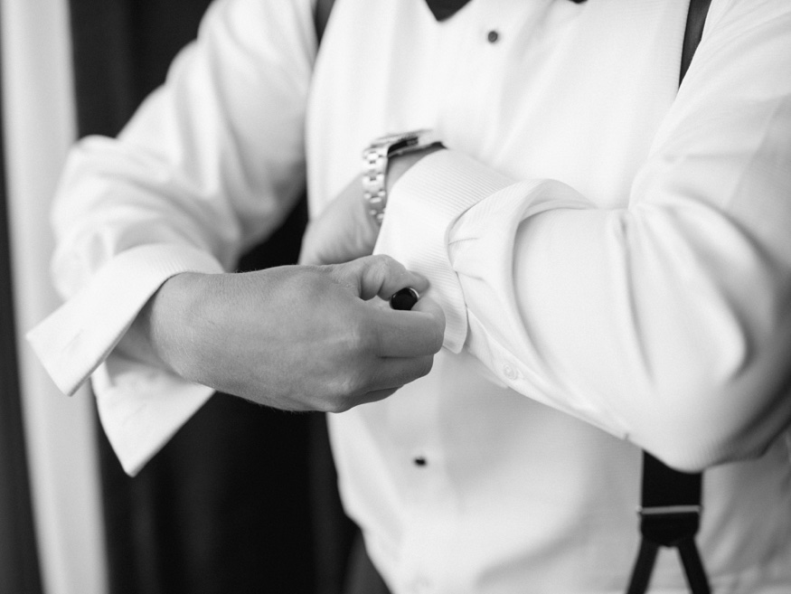 Groom getting ready in tux by Dante Zeller at Park Chateau Wedding.