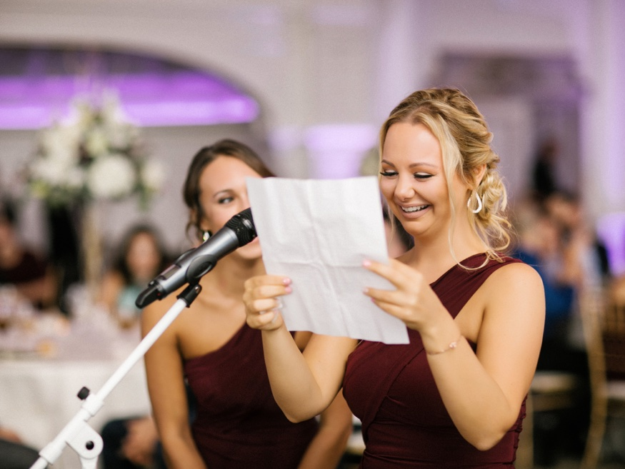 Maid of Honor speech at Park Chateau wedding reception.