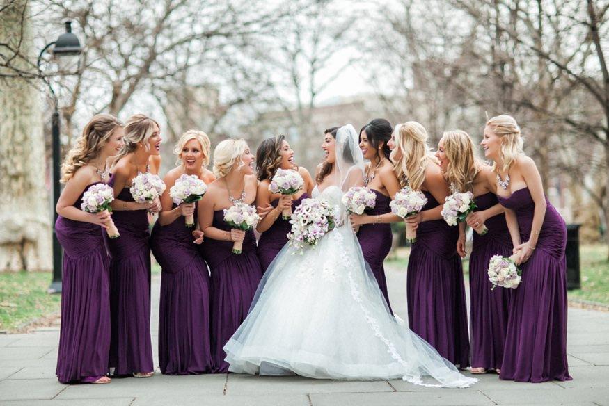Bride and bridesmaids at Washington Square park before Ballroom at the Ben wedding.