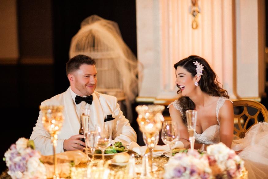 Reception toasts at Ballroom at the Ben Philadelphia wedding.