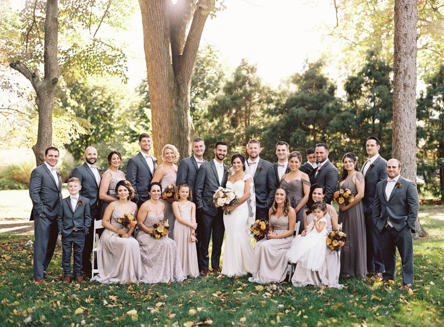 Bridal party photo at fall knowlton mansion wedding