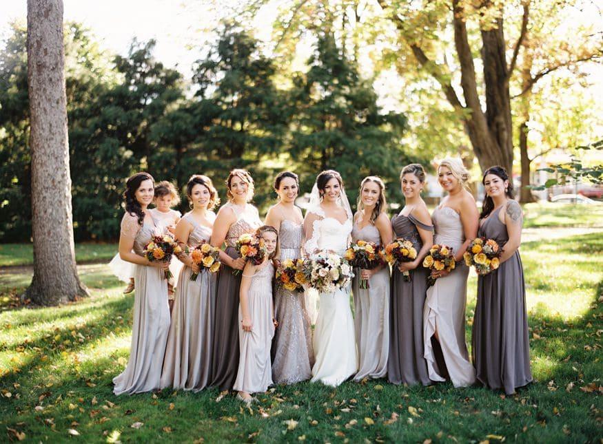 Bridesmaids portraits at fall wedding at Knowlton Mansion.