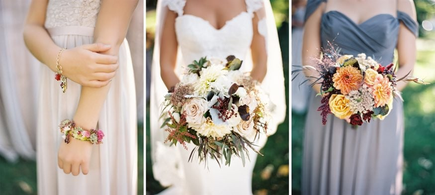 Wedding bouquets by A Garden Party at Knowlton Mansion wedding.