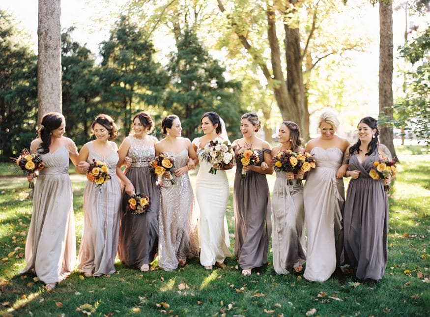 Bridesmaids portraits at fall wedding at Knowlton Mansion.