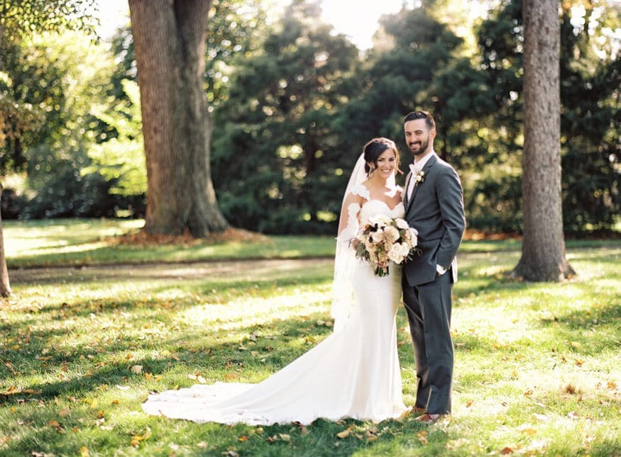 Bride and Groom portraits at fall wedding at Knowlton Mansion.