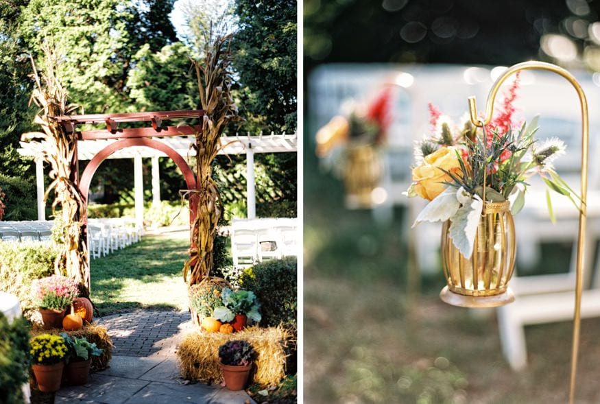 Outdoor ceremony at Fall wedding at Knowlton Mansion.