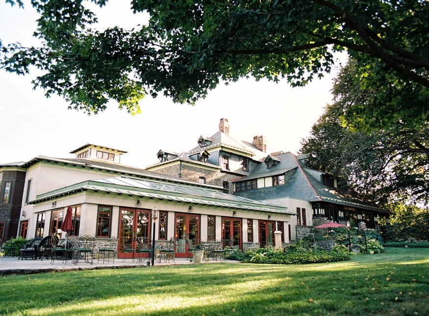 View of back patio at Knowlton Mansion wedding venue in Philadelphia.