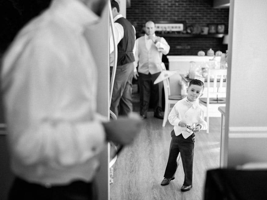 Groom getting ready before Fall wedding at Knowlton Mansion.