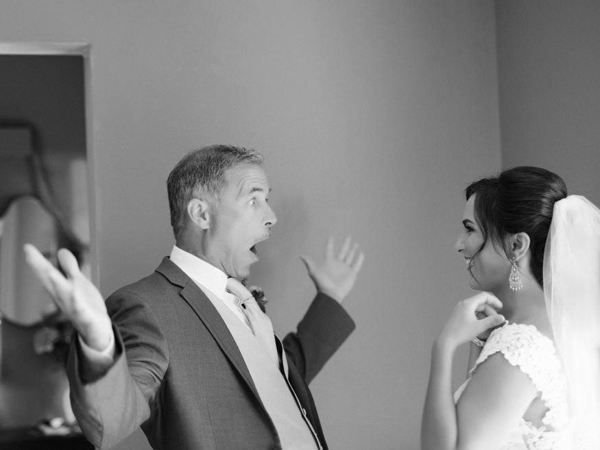 Father seeing daughter for the first time at her Knowlton Mansion wedding.