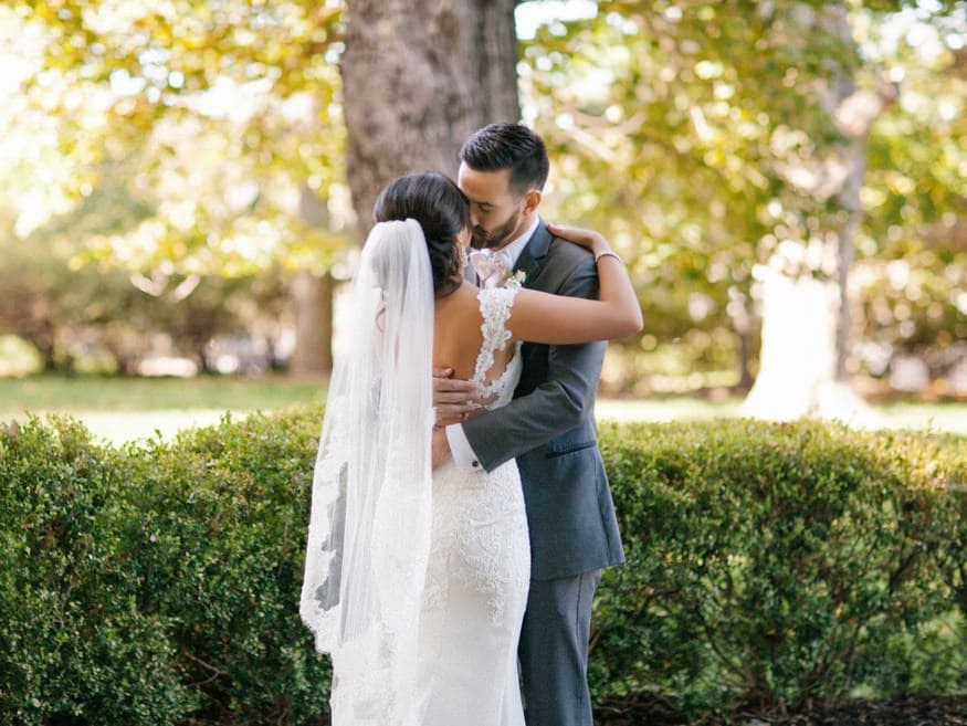 Bride and Groom first look at fall Knowlton Mansion wedding
