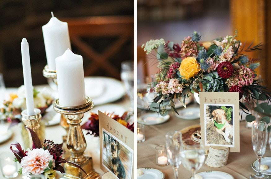 Reception details at Fall wedding at Knowlton Mansion.