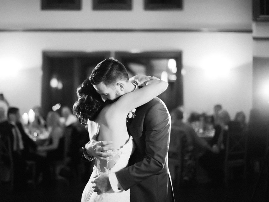 Bride and Groom first dance at fall wedding at Knowlton Mansion.