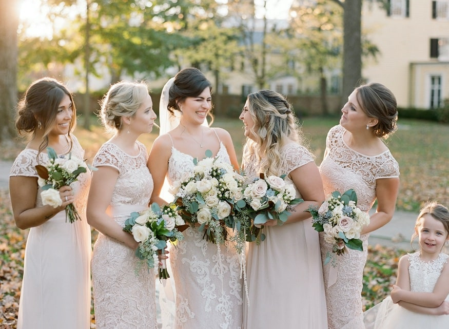 Bridesmaids portraits at Princeton University before Somerset wedding venue.