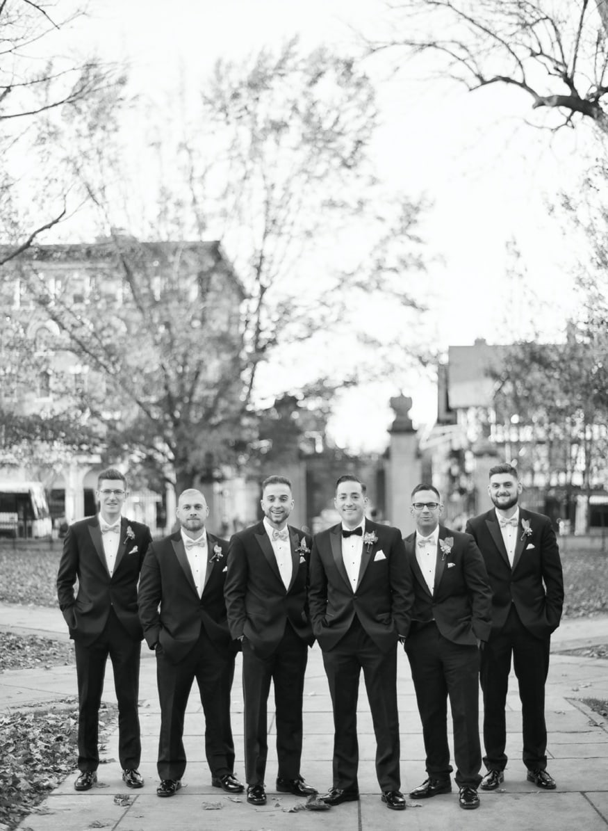 Groomsmen portraits at Princeton University before Palace at Somerset wedding venue.