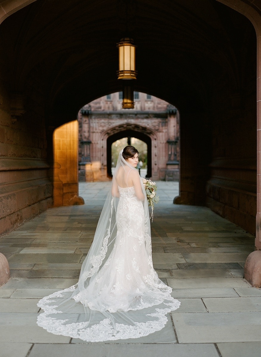 Bride portraits at Princeton University before Palace at Somerset wedding.