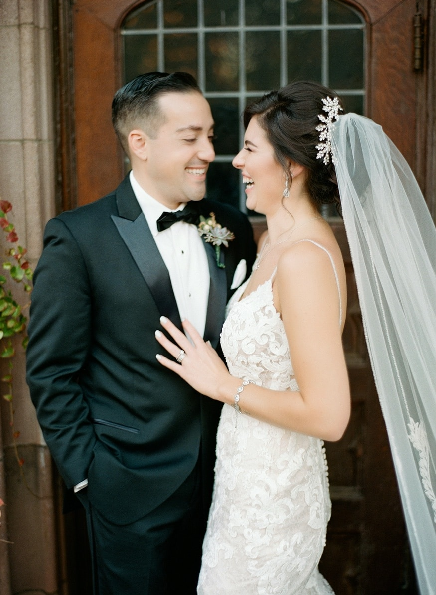 Bride and groom portraits at Princeton University before Palace at Somerset wedding venue.