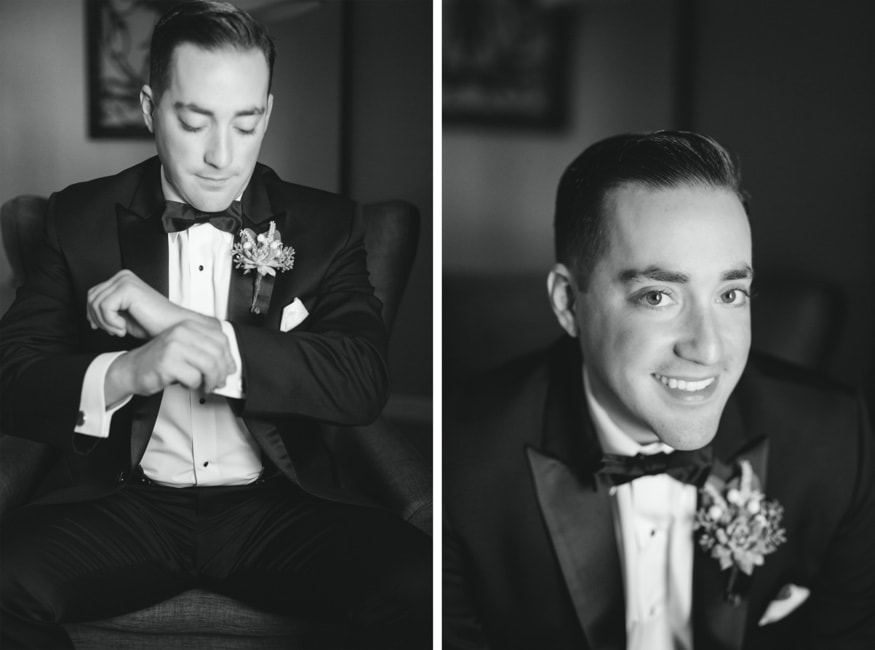 Groom getting ready at Nassua Inn in Princeton, NJ.