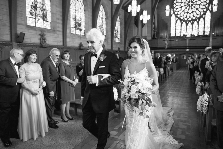 Bride & Father walking down the aisle in St Paul's church in Princeton wedding.