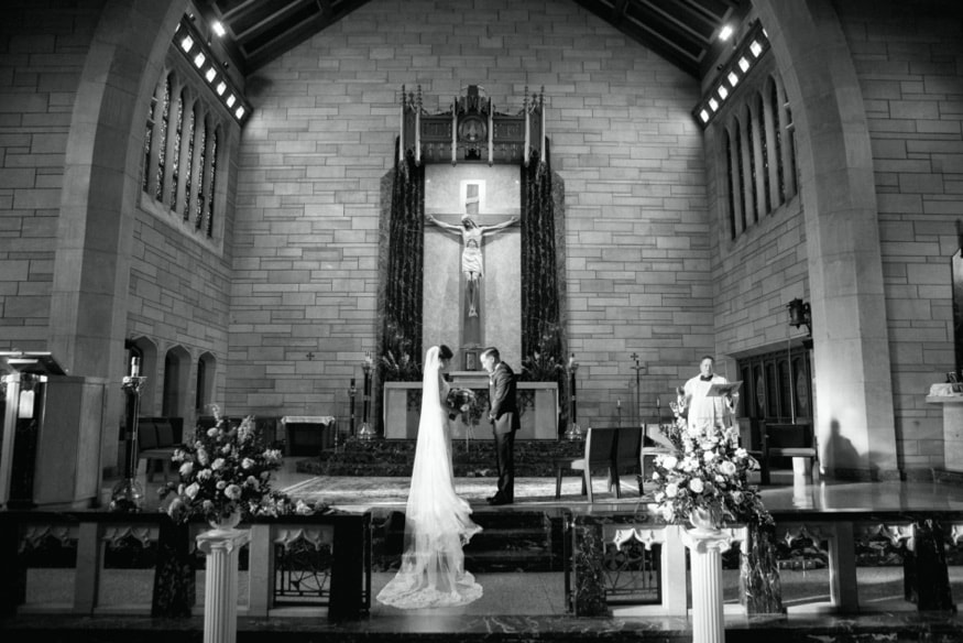 Wedding ceremony at St Paul's Catholic Church in Princeton NJ.