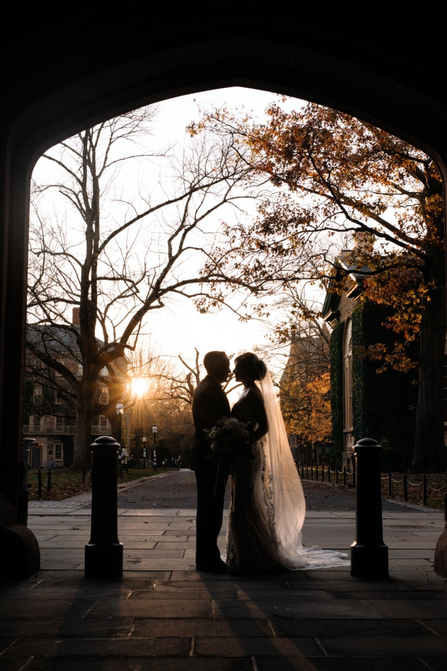 Princeton University wedding portraits before Somerset Park wedding venue.