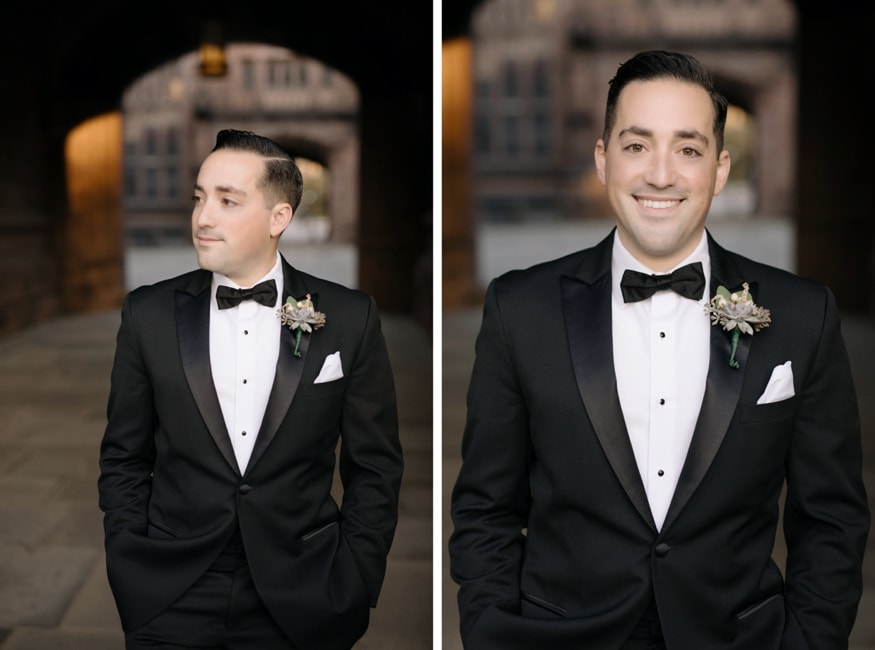 Groom portraits at Princeton University wedding.