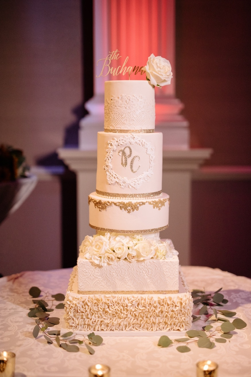 Wedding cake made by Bride at Palace at Somerset wedding venue.
