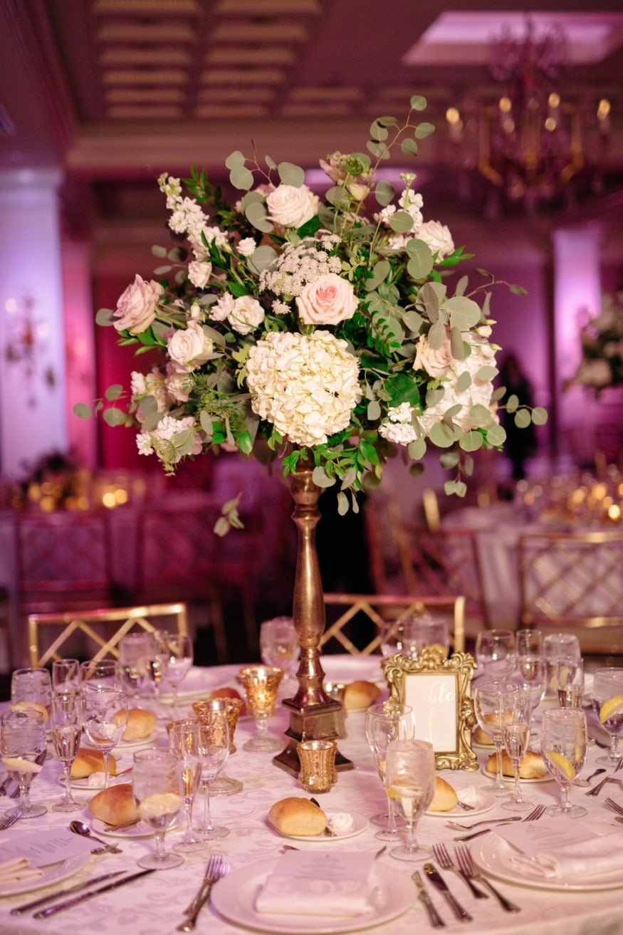 Table details by Petal Pushers at Palace at Somerset wedding venue.