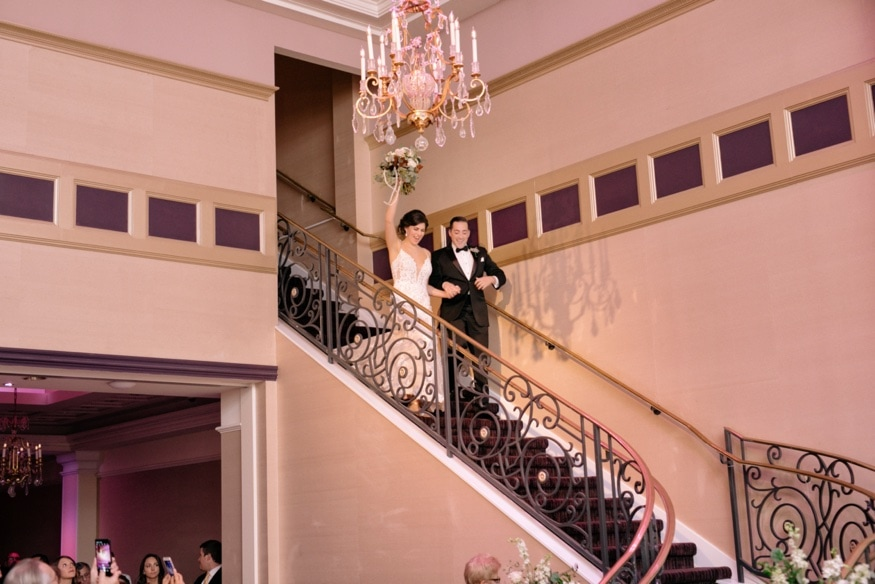 Bride and Groom entering reception at Palace at Somerset park wedding reception.