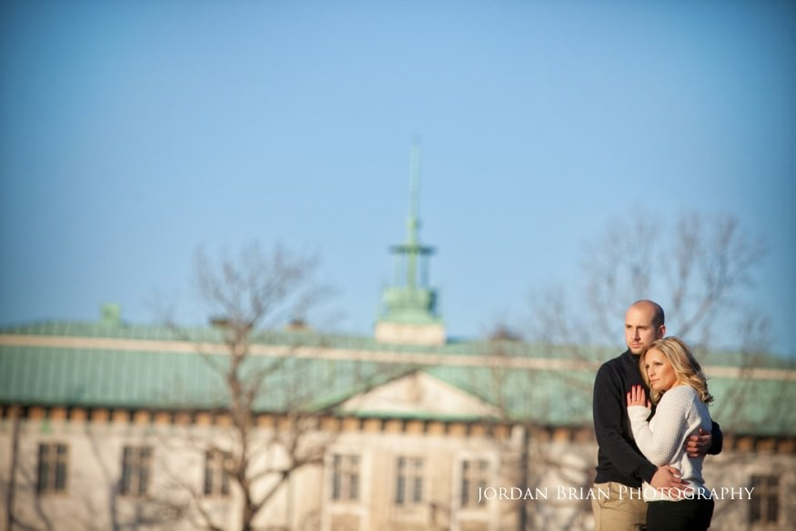 couple infront of american swedish museum in fdr park