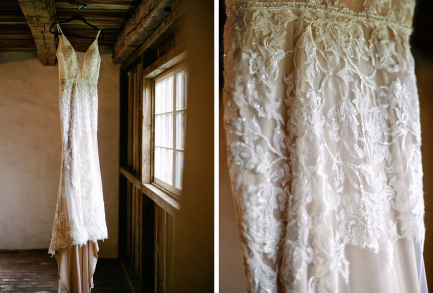 Bride's dress by Calla Blanche at the Brandywine Manor House.