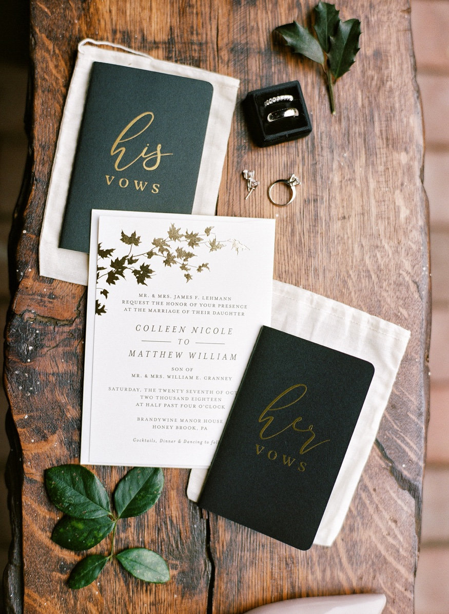 Wedding invitation by Minted.com at the Brandywine Manor House.