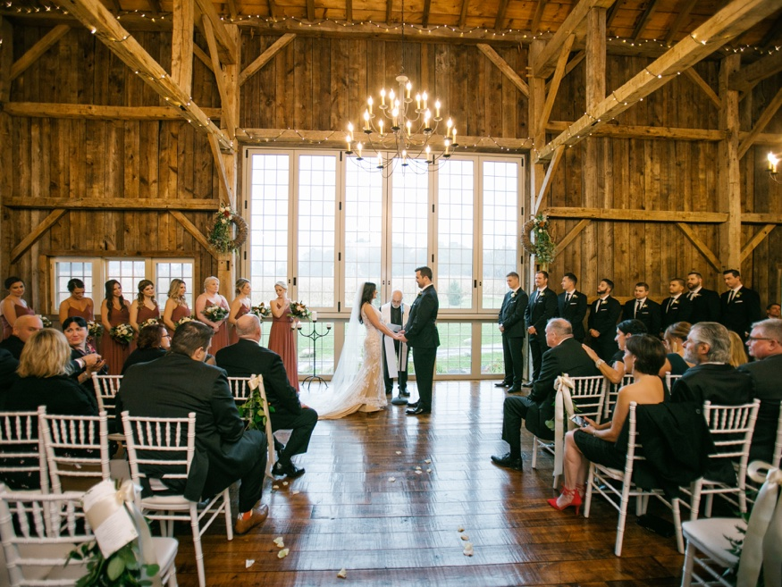 Barn wedding ceremony at Brandywine Manor House.
