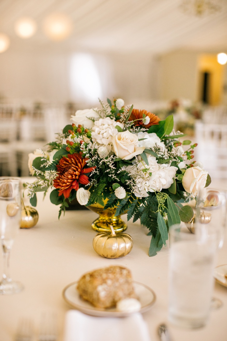 Table details at Brandywine Manor House wedding reception.