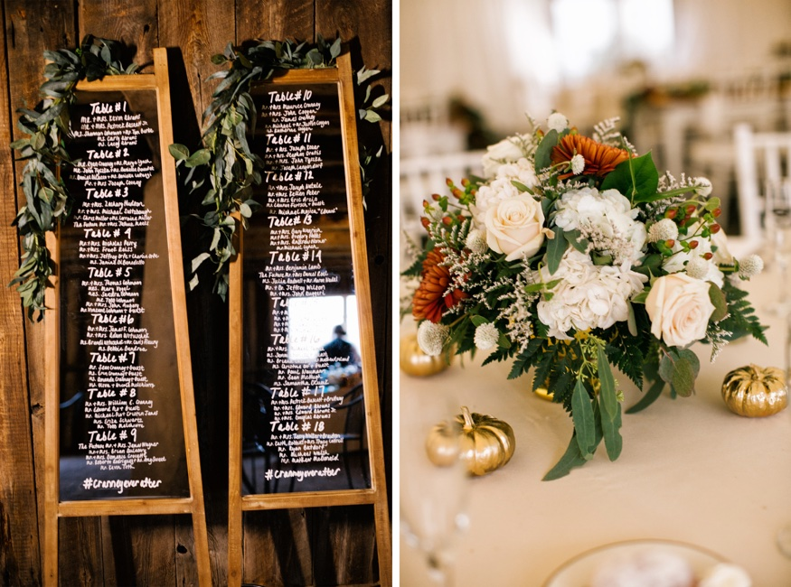 Reception details at Brandywine Manor House wedding.
