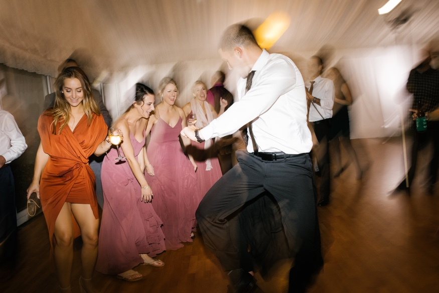 Dancing at Brandywine Manor House wedding reception. DJ Ben Ostroff from EBE.