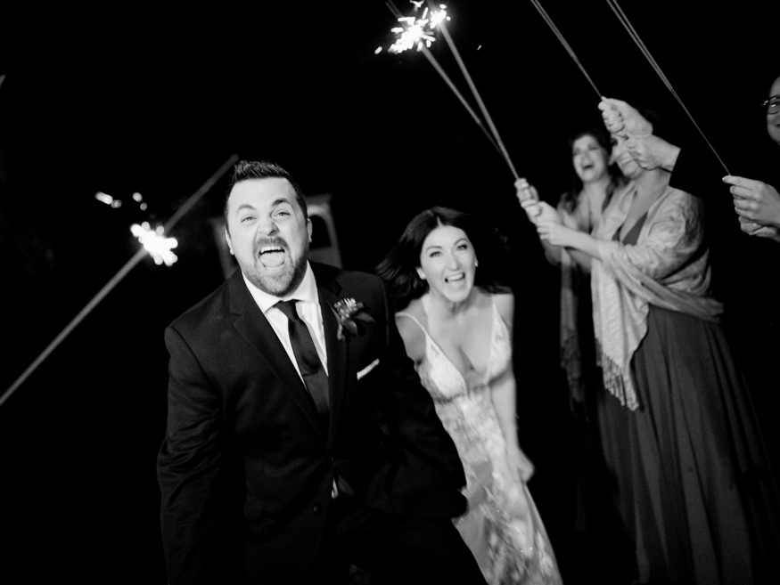 Night portraits with sparklers at the Brandywine Manor House wedding.
