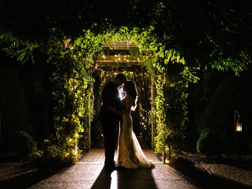 Night portraits at the Brandywine Manor House wedding.