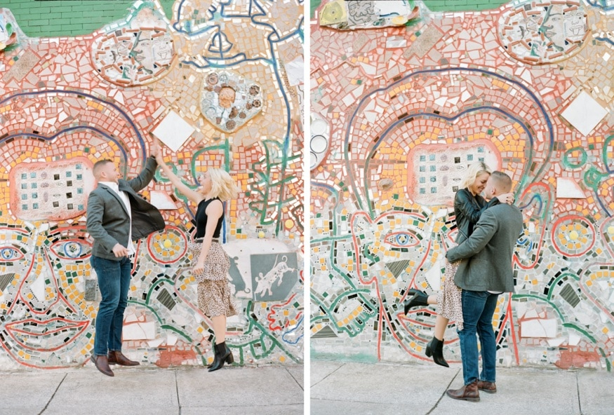 Philadelphia Magic Gardens engagement photos.