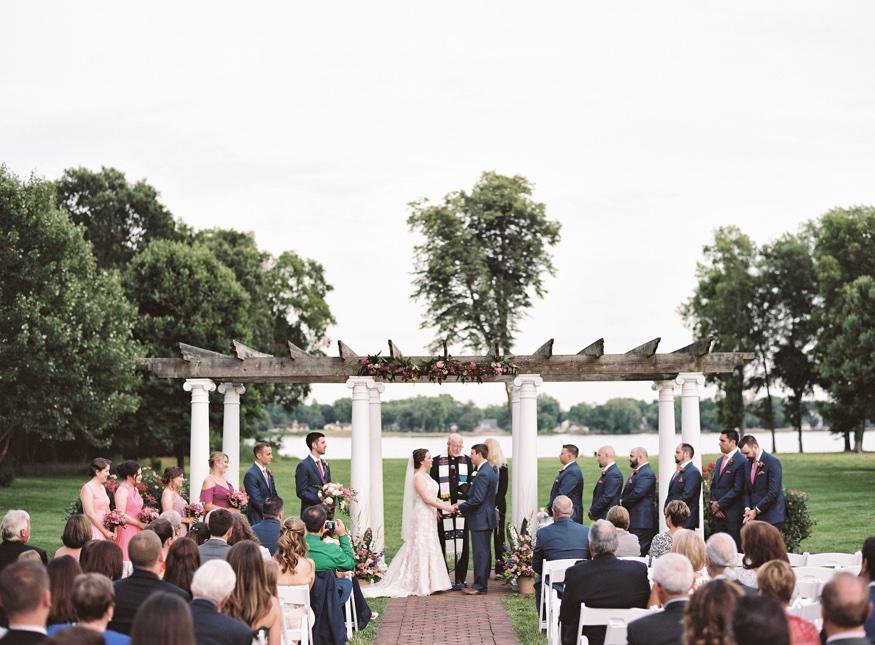 Outdoor wedding ceremony at Pen Ryn Estate wedding.