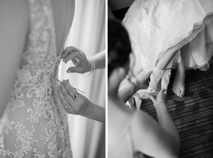 Bride getting ready in Demetrios wedding dress before Pen Ryn wedding.